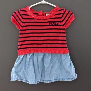 "Red & blue striped ""hugs"" dress"